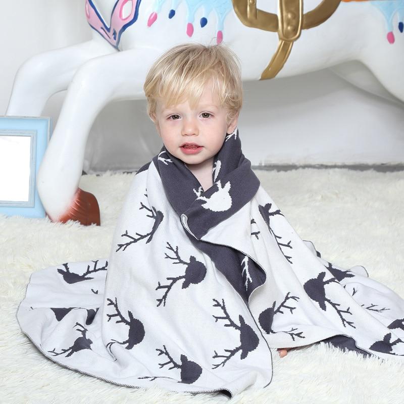 2017 Cartoon Goat Knitted Kids Blanket Soft Cotton Christmas Newborn Baby Swaddle Blanket Adult Sofa Bedding Car Throw 100X130cm