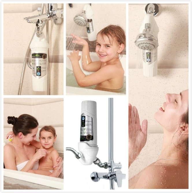 Miniwell shower  filter with chrome handheld shower wand and shower holder enlarge