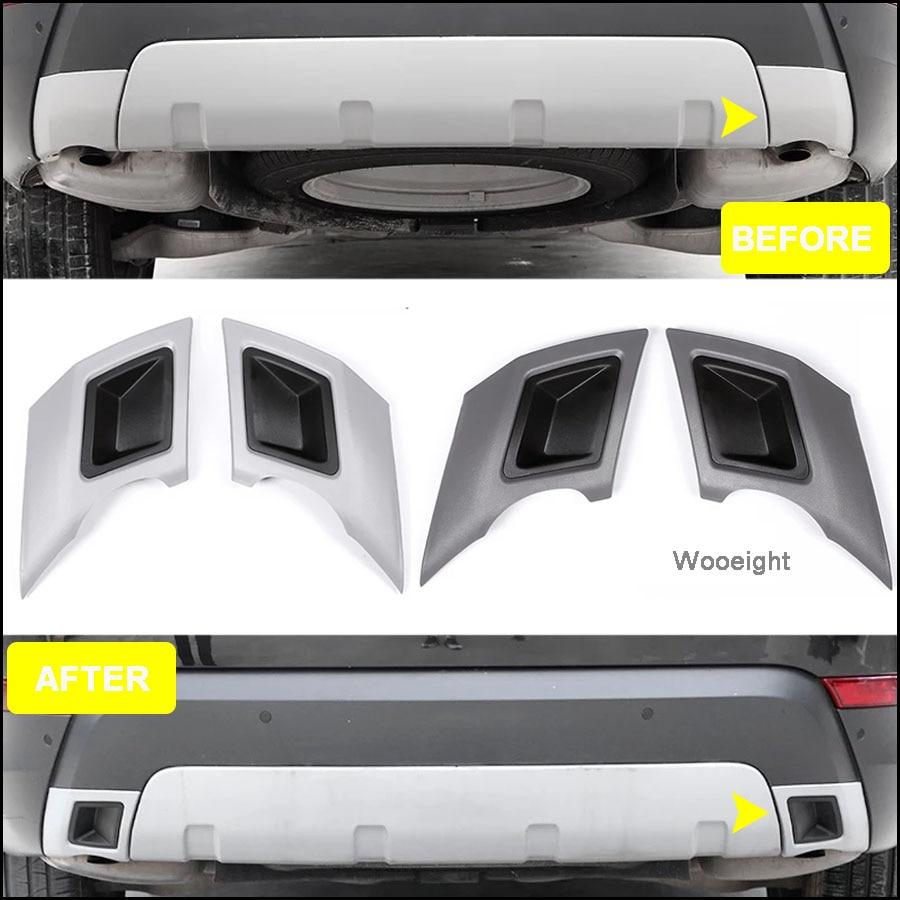 Wooeight 2 uds guardabarros trasero para automóvil de tubo de escape parachoques tubo pegatina de cubierta embellecedora para Land Rover Discovery 5 LR5 2017 de 2018 a 2019