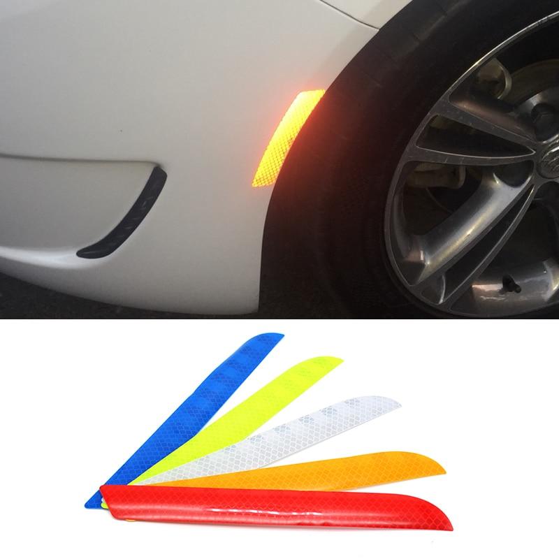 2 uds para puerta de maletero de coche cola de advertencia seguridad anticolisión tiras reflectantes embellecedor arañazos cubiertas parachoques Protector pegatina