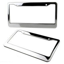 1pc de acero inoxidable de metal de plata Marco de matrícula de coche etiqueta cubierta de tapa de rosca