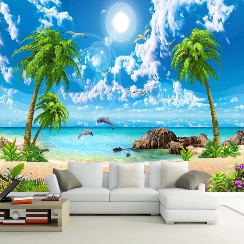 Rollo De papel tapiz personalizado con cocotero, paisaje De playa, tela para Pared De sala De estar, Pared del dormitorio, decoración del hogar, Murales De Pared 3D