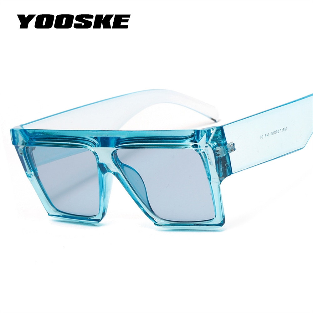 YOOSKE Square Oversized Sunglasses Women Flat Top Clear Blue Pink Sun glasses Men Vintage Big Frame Square Eyewear UV400