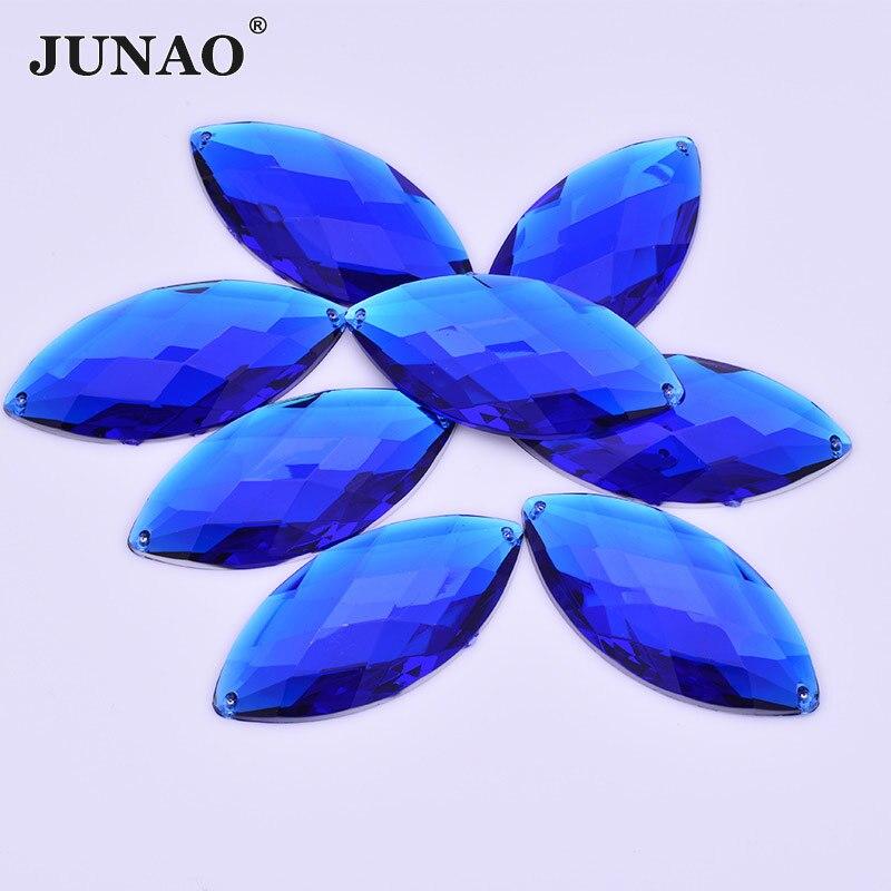 JUNAO 30*62mm Color azul tamaño grande coser en acrílico Flatback Rhinestones apliques piedras de cristal para costura caballo forma de ojo Strass