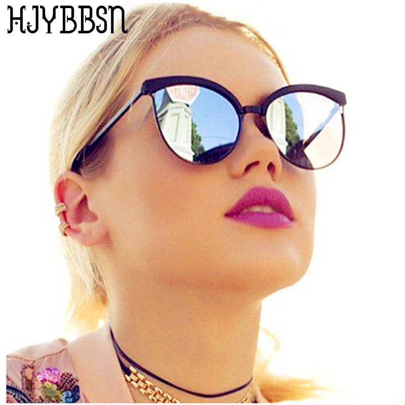 Hjybbgn 2019 gafas de sol tipo ojo de gato gafas de sol de moda para mujer gafas de sol de marca para mujer lunette soleil gafas negras reflectantes UV400