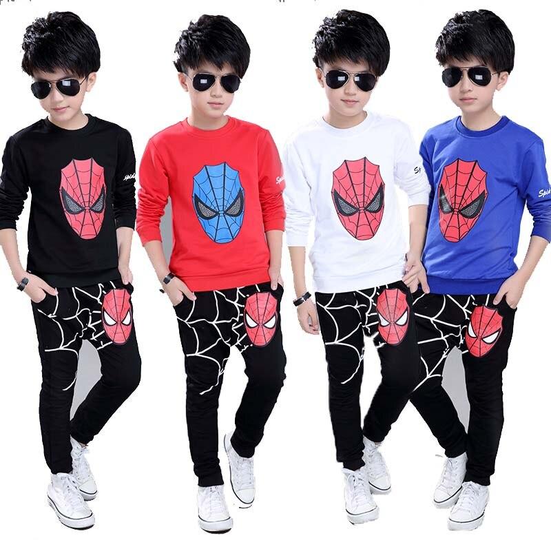 Children Sports Suit Baby Boys Spiderman Clothing Set Superman Toddler Kids Hoody T Shirt Pants Suit for Boy Cotton Clothes Set