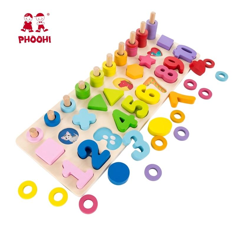 Juguete de Material educativo Montessori de madera para bebés, juguete de tablero para niños de aprendizaje temprano para más de 3 años de edad PHOOHI