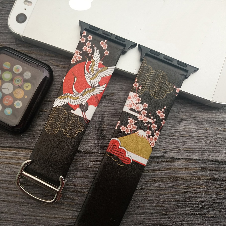 para Apple Assistir Pintura de Couro Pulseiras para Apple Série – 44mm Estilo Genuíno Pulseira Relógio Iver 38 4 3 2 40