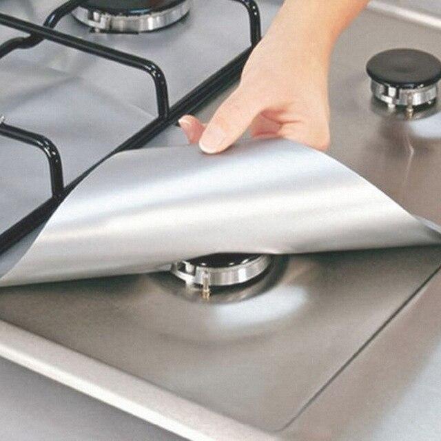 4 pçs/set Reutilizável Folha Faixa de Bar Cozinha Fogão A Gás Fogão Queimador Liner Protetor Capa Conjuntos De Ferramentas De Limpeza Cozinha Bar De Jantar conjunto