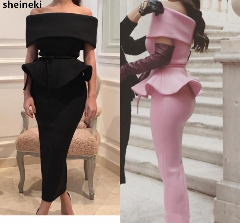 2019 Sexy satén del hombro vestidos de manga corta negra vaina vestidos de fiesta económicos noche vestido para té, longitud vestidos