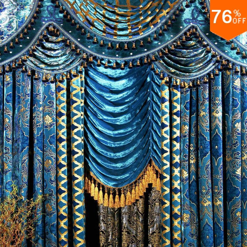 window romantic valance beaded curtain for living room gold blue curtains Blue velvet curtains valance curtain for living room