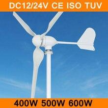 Wind Power Generator DC12V/24 V 400 Watt 500 Watt 600 Watt Wind Alternative Turbine Stromerzeuger 3 Klinge mit Controller CE TÜV ISO