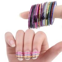 30 рулонов разноцветных полосатых лент для DIY 3D ногтей украшения из фольги Набор наклеек