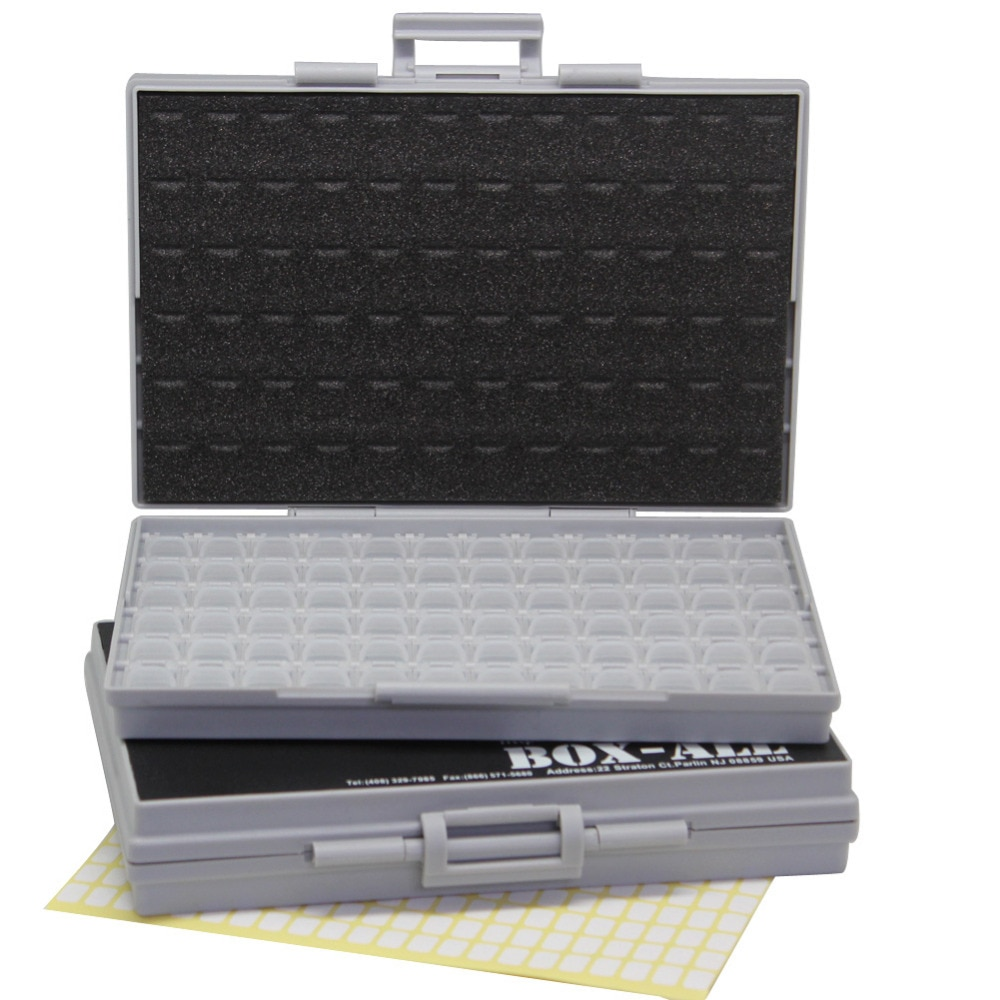Aidetek caixa de armazenamento plástico transparente caixas cercados 4 smd smt resistor capacitor organizador 0603 caixa plástico 2boxall72
