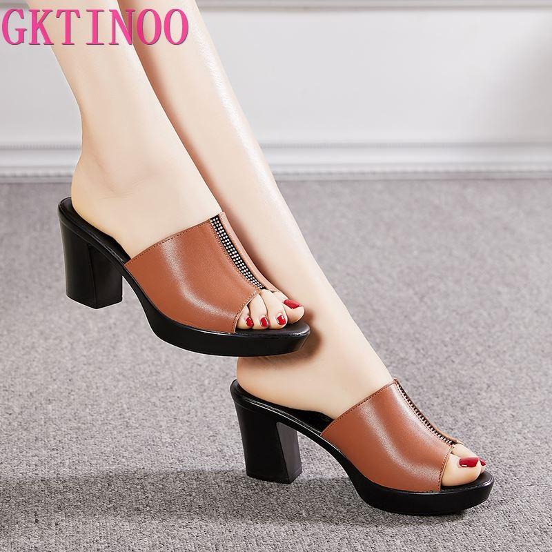 Zapatillas GKTINOO 2020 para mujer, zapatillas de verano para señora, zapatos de tacón alto para mujer, zapatos de verano de cuero genuino con diamantes de imitación a la moda