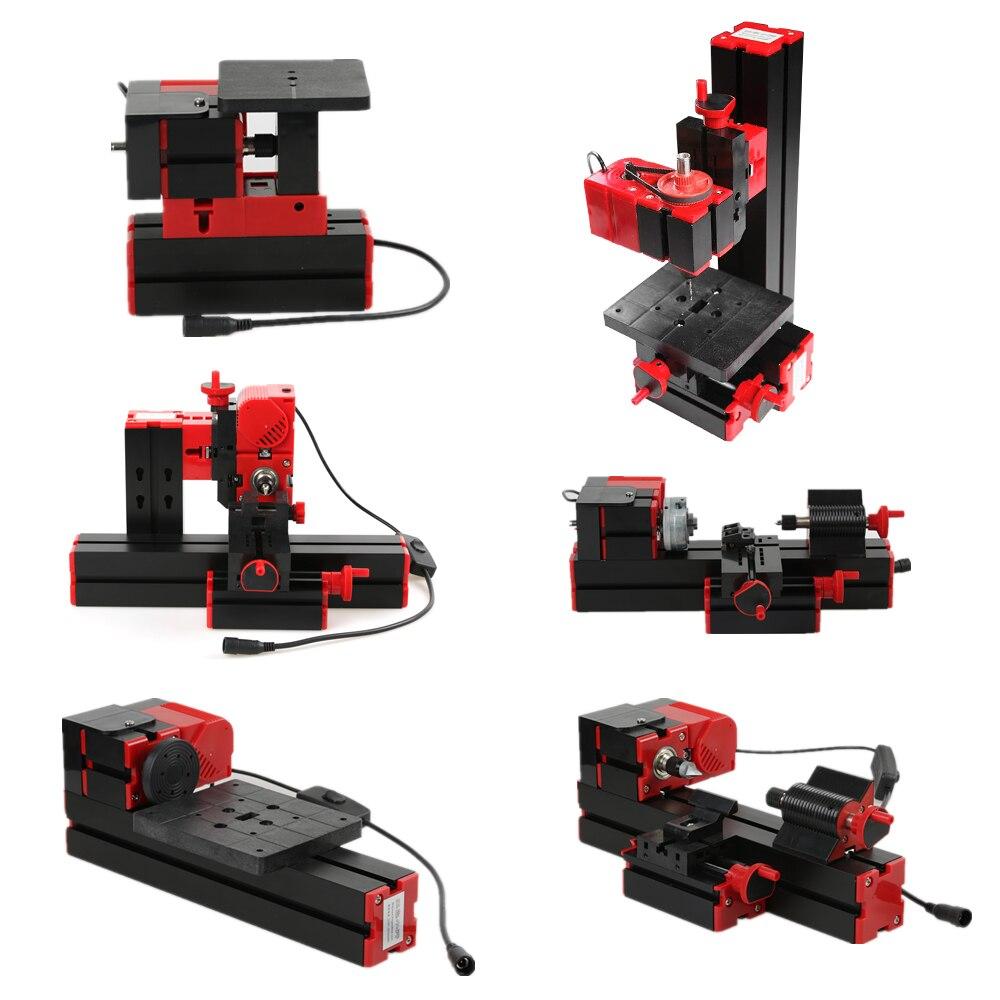 Mini Lathe DIY 6 in 1 Multi-functional Motorized Transformer Jigsaw Grinder Driller Plastic Metal Lathe Wood Sawing Machine