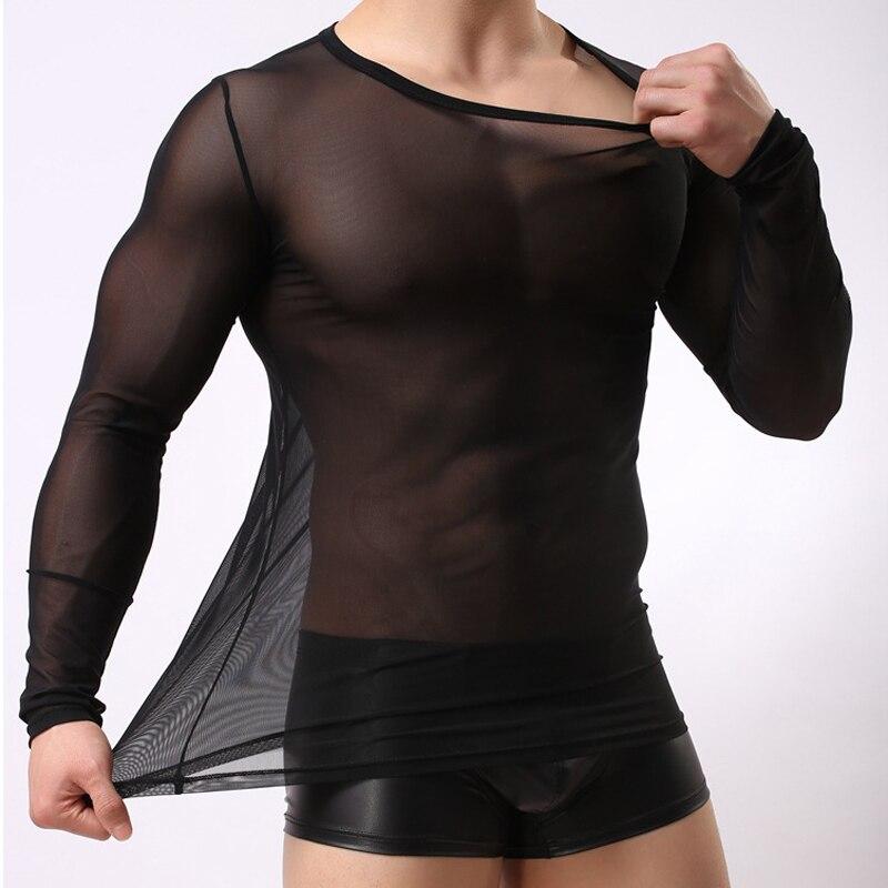 Hommes à manches longues T-Shirt pleine maille transparente à manches longues sous-vêtements minceur décontracté mode coréenne t-shirts Blouses transparentes