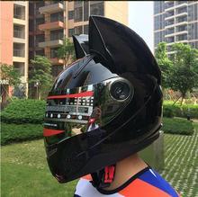 Katze ohren motorrad helm männer persönlichkeit cool full face helm lokomotive anti-nebel damen katze ohren schwarz helm
