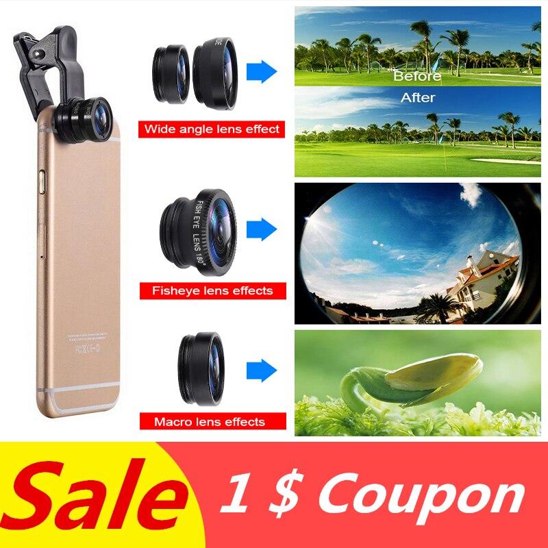 3 en 1 lente ojo de pez Macro gran angular Universal Kits de cámara Selfie teléfono móvil lentes de ojo de pez apto para todos los accesorios de teléfono móvil