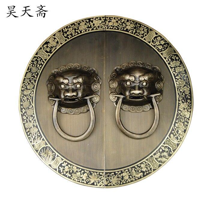 [هاو تيان نباتي] الصينية الأثاث مقبض الباب مع الزهور السلبيات الوحش الوحش HTA-094