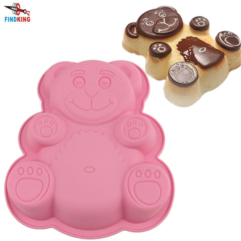 FINDKING DlY форма для торта форма медведя из мультфильма 3D силиконовая форма для торта жаропрочные Инструменты для выпечки, форма для выпечки, л...