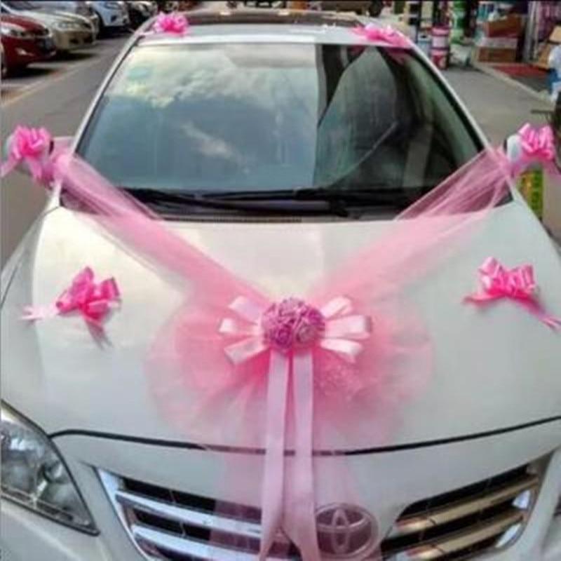 Juego de decoración de flores de coche de boda, guirnalda de flores principal rosa roja con oso, 11 uds, Decoración de casa de flores diy