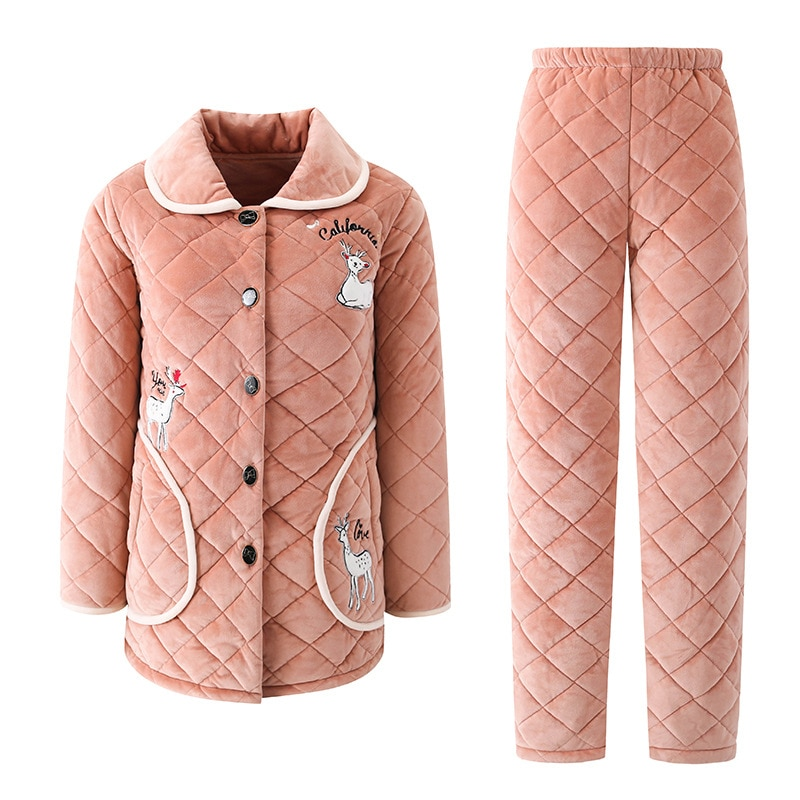 Winter pajamas ladies coral velvet quilted three-layer thick long-sleeved casual long section warm flannel home service enlarge
