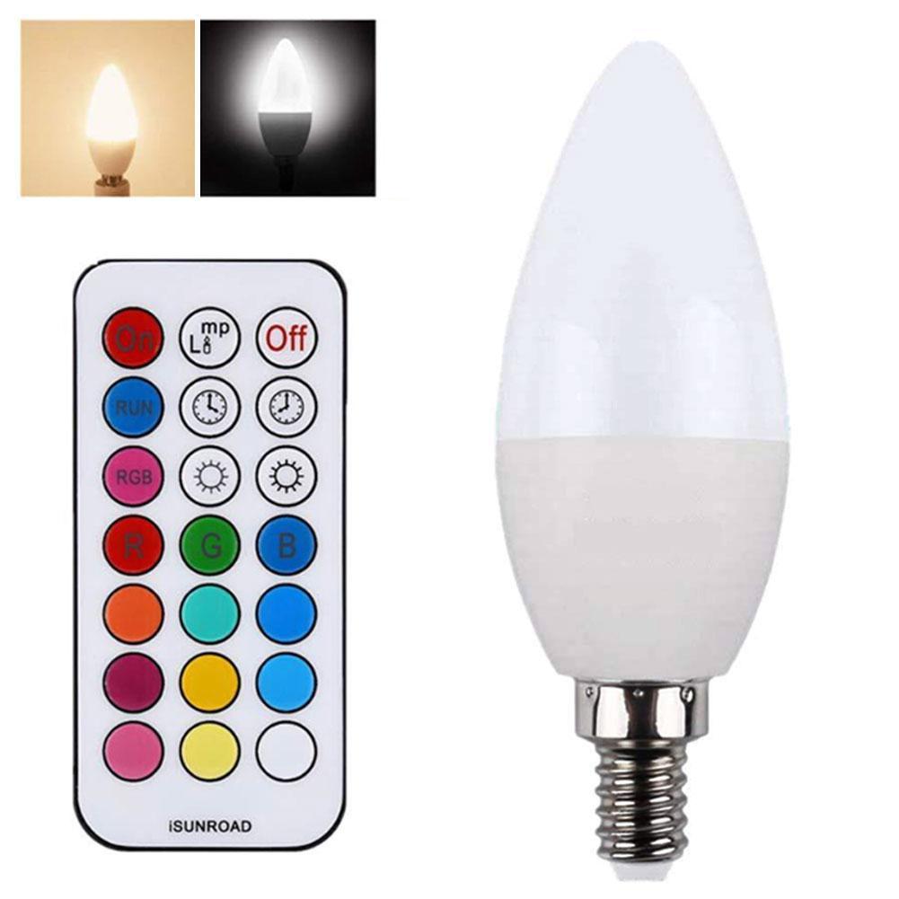 3 w e27/e14/e12/b22 rgb cor em mudança led vela lâmpada com controle remoto