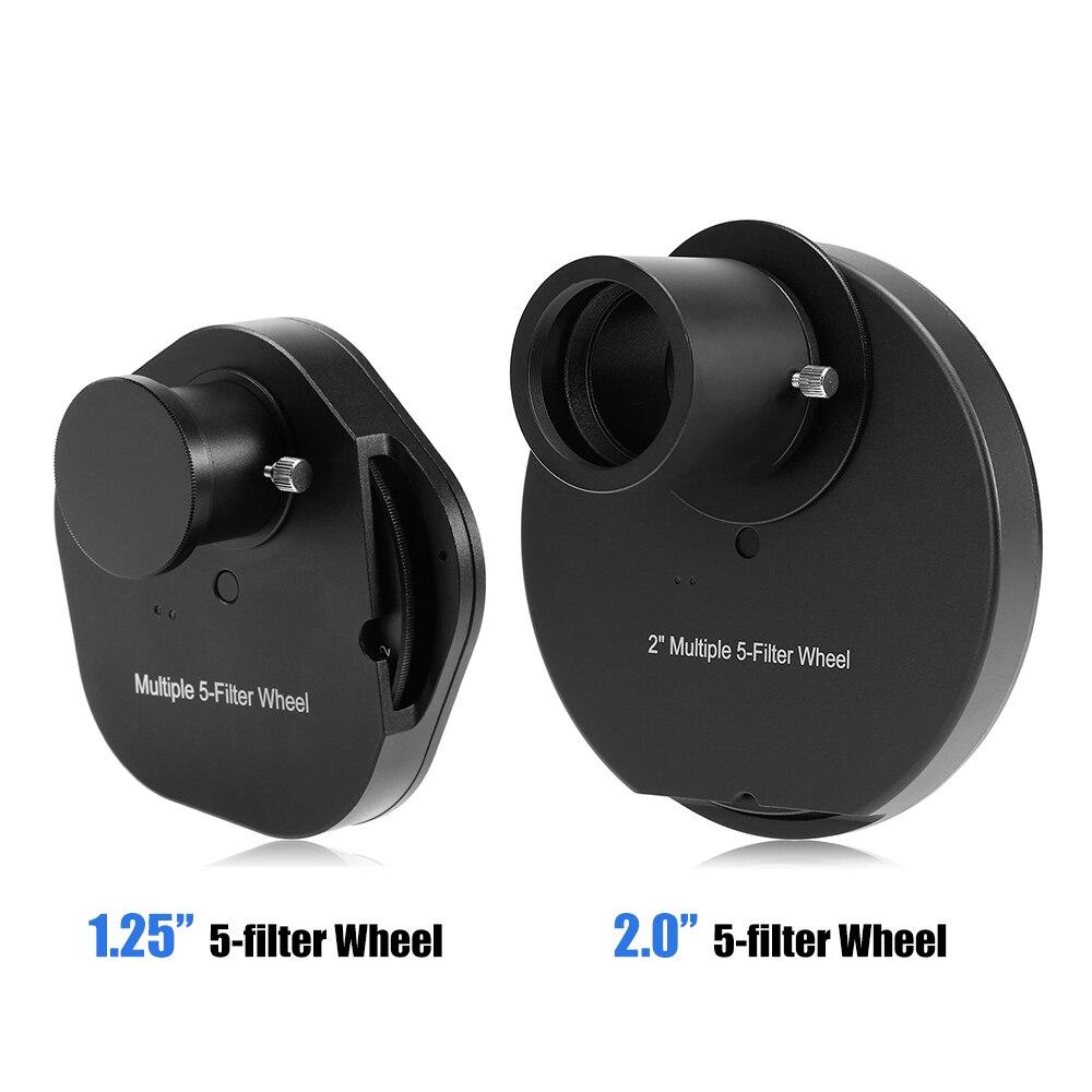 Doskonała jakość 1.25 cal/2 cal okular filtr koła wiele 5-Filter Wheel teleskop astronomiczny okular obserwacji