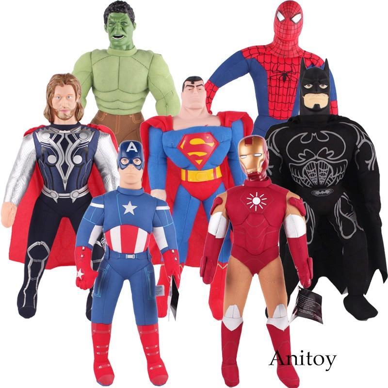 Marvel Superhéroes Superman Spiderman Thor Iron man capitán americano DC Batman Superman juguetes de peluche muñecos de peluche suaves niños