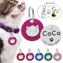 Glitter Hond Kat ID Tag Custom Gegraveerde Ronde Tags Voor Katten Pet Kitten Kraag Accessoire Anti-verloren Puppy Honden naam Telefoon Tags Bell