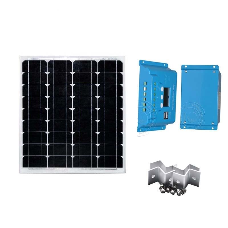 Kit de paneles solares de energía Solar 50W 12v PWM Controlador Solar 10A 12 V/24 V pantalla LCD Z Barcket fuera de la red sistema de energía Solar Camping