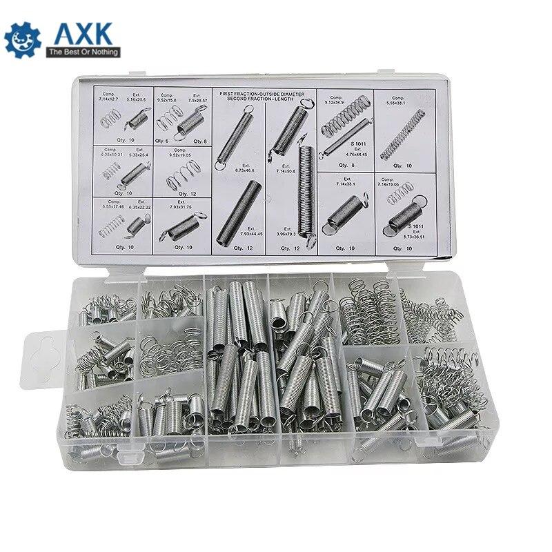 200 piezas Caja Acero resorte eléctrico tambor extensión tensión muelles presión traje Metal surtido Kit de Hardware surtidos