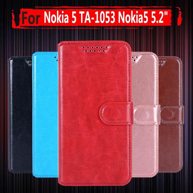 ¡Gran oferta! Para Nokia5 TA-1053 TA-1024 funda cartera funda trasera de cuero PU para teléfono Nokia 5 Global Dual TA 1053 funda