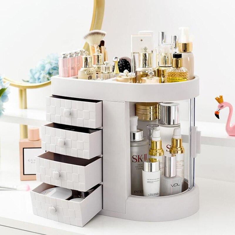 2019 venda quente feminino banheiro cosméticos caixa de armazenamento e banheiro à prova de poeira grande maquiagem organizador cuidados com a pele jóias armazenamento drawe