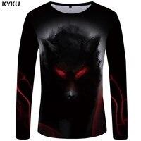 kyku brand wolf t shirt men long sleeve shirt eye graphic blood printed tshirt black cool vintage japan hip hop mens clothing