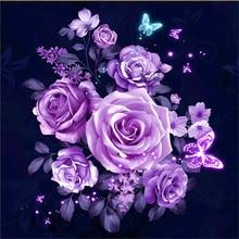 5D Diamond Embroidery DIY Round Diamond Mosaic Purple Rose Flower Butterflies Picture Diamond Painting Cross Stitch Home Decals