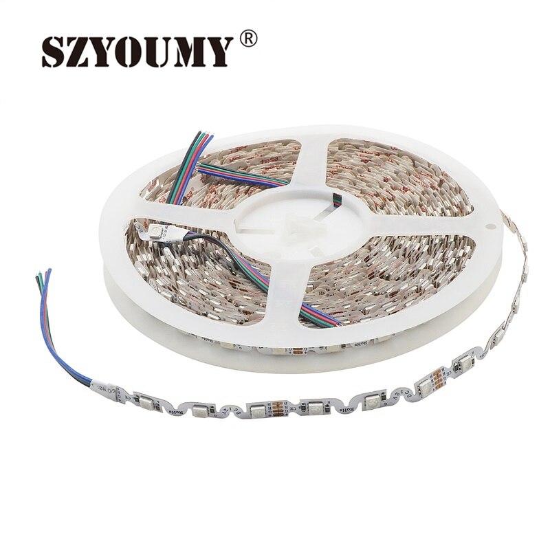 Tira de LED 5050 RGB con forma de S Flexible, tira de LED IP20 No impermeable DC12V, luz LED Flexible 60 LED/M 5 m/lote para Letras de canal