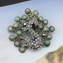 Broches de broche de paon de perle de strass de ton-simulé par couleur noire Antique de Bronze de mode de cru pour les femmes dhommes, NO. CC003