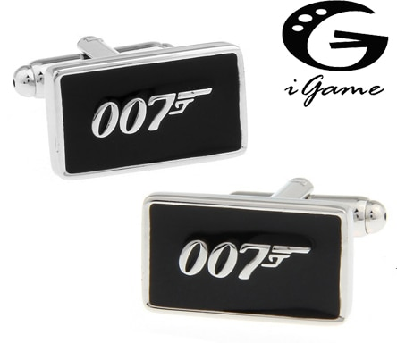 Promotion!! 007 Cufflinks black color fashion novelty james bond movie design copper material free shipping