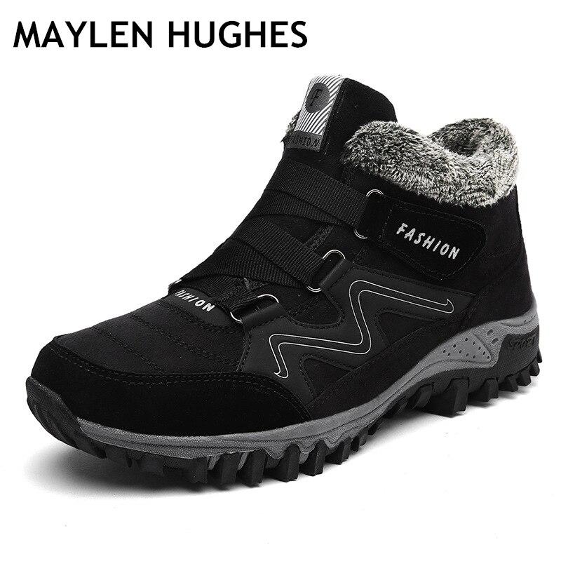 Size36-46 grandes, zapatos de senderismo para hombre y mujer, botas de nieve cálidas de piel y piel de invierno, zapatos para caminar al aire libre, botas para deportes de montaña y escalada
