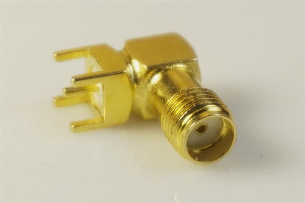 1000 stuks SMA Jack Vrouwelijke Socket 50 Ohm Through Hole Haakse Solder PCB Mount Coaxiale Connector RF Bakje