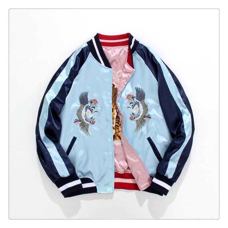 Frühling Frauen Reversible Jacke Stehen Kragen Vintage Stickerei Kran Tiger Reversible Baseball Uniform Vintage Kurzen Mantel