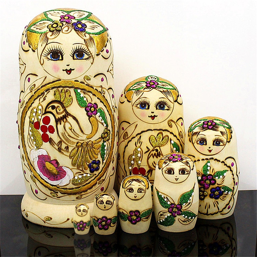 Wishing Bird tallado muñecas rusas de madera de alta calidad seco Tilo de moda muñecas Matrioska étnicas 7 capas de Madera Juguetes L30