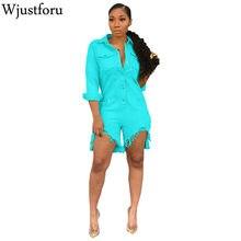 Wjustforu décontracté Denim combinaison femmes mode manches longues Jeans combinaison Vestidos Botton couleur Pure élégant combinaison Slim