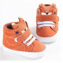 Super lindo de dibujos animados Fox lona Bebé Zapatos nuevos zapatos de bebé recién nacido chico chica en primer lugar los caminantes suave suela para bebés niños zapatillas de deporte