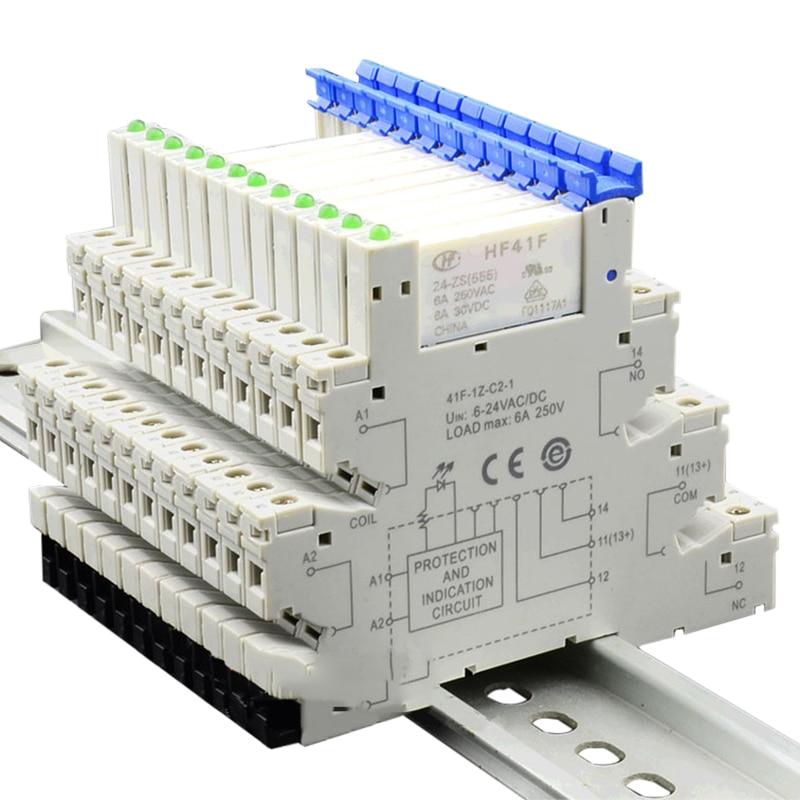 HF41F 24-ZS 1pcs Slim Relay Din Rail PCB Power Relay Holder Coil 24VDC Contact 6A 250VAC 5Pin Voltag