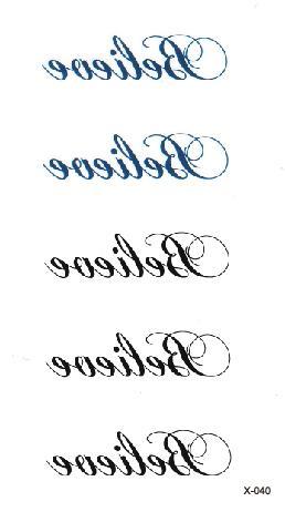 "Impermeable tatuaje temporario falso tatuaje etiqueta engomada del tatuaje carta en inglés ""creer"" tatuajes Tatouage mano pie tatuaje para niños hombres y mujeres chica"