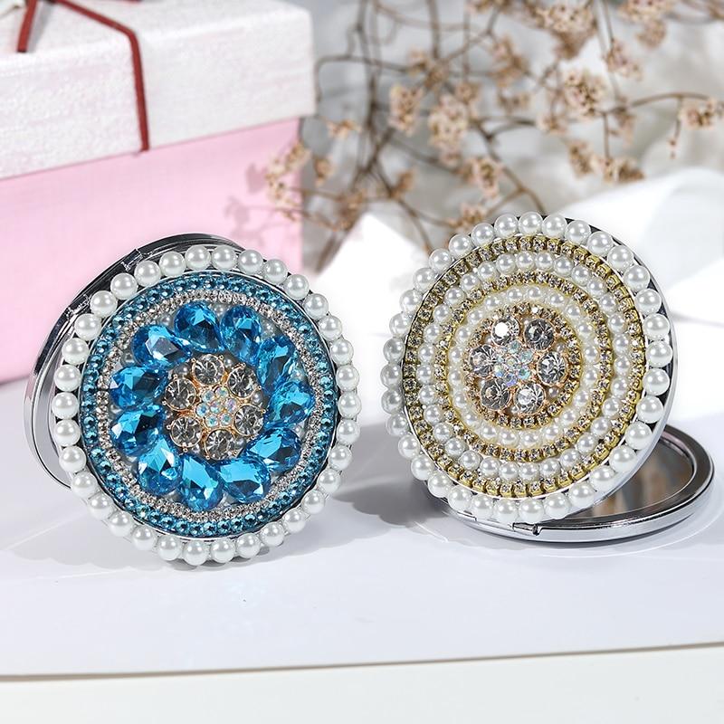 2 unids/lote, Grabado libre, fiesta de boda regalo de Navidad, cristal ostentoso perla sol flor, maquillaje de belleza espejo decorativo compacto de bolsillo