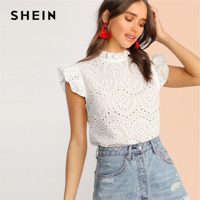 Блузка Шеин с воротником-стойкой без рукавов, белая/розовая